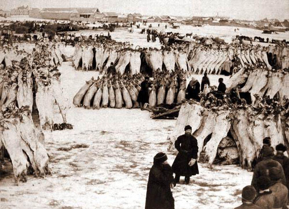 Рождественская ярмарка в Кургане.Фотография А.И.Кочешева. Начало ХХ века.