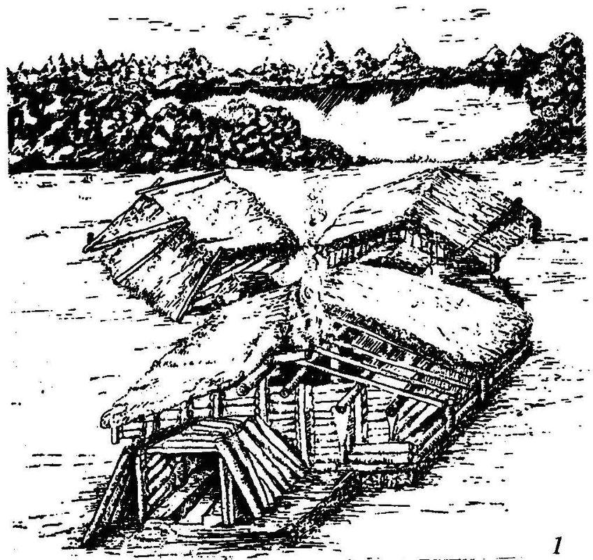 Реконструкция четырехкамерного жилища саргатской культуры (по Л.Н. Коряковой)