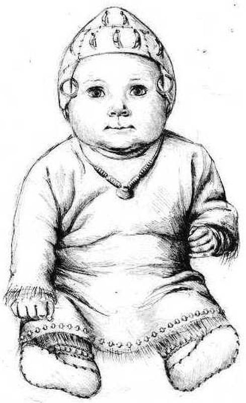 Реконструкция костюма ребенка из погребения Алакульского могильника (худ. А.Богатенкова)