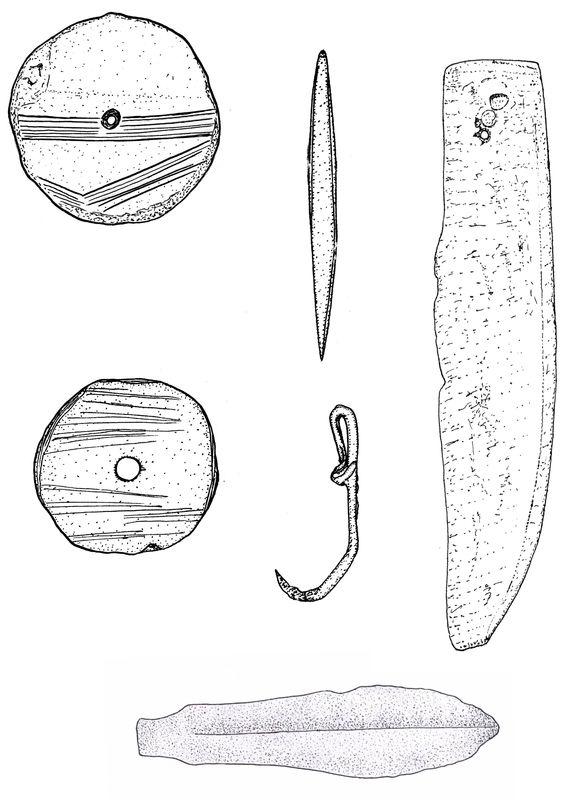 Предметы хозяйственной деятельности (пряслица, рыболовецкий крючок, секач, нож)