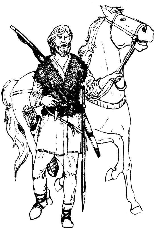 Реконструкция внешнего облика воина саргатской культуры (худ. А.А.Ковригин, по Л.Н.Коряковой)
