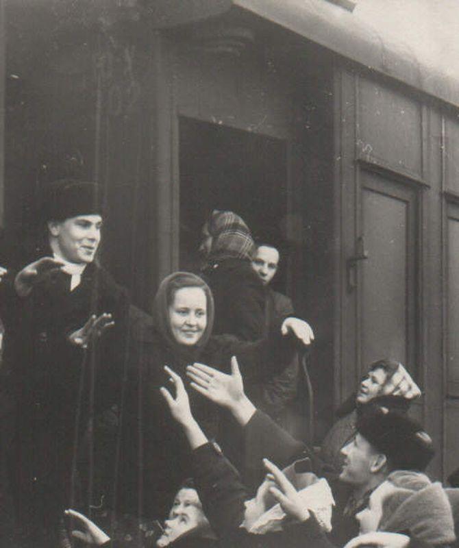 Отъезд специалистов на целину. Курган. 1954 г.