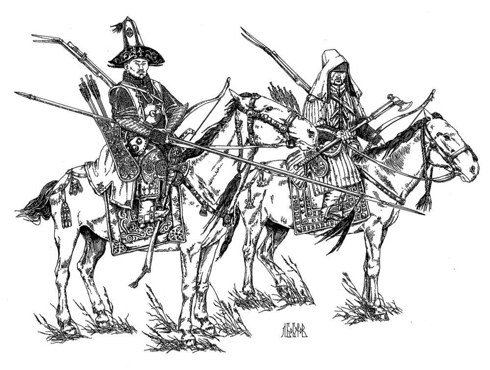 Казахские воины (реконструкция Л.А.Боброва)