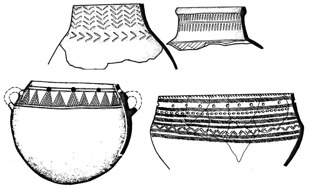 Керамика бакальской, кушнаренковской и юдинской культур